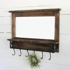 wood mirror with hooks antique farmhouse