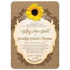 Sunflower Wedding Invitation Rustic Burlap And Lace Floral Boda