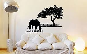 Amazon Com Horse Grazing Silhouette With Grass And Tree Vinyl Wall Decal Sticker Graphic Handmade
