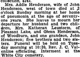 Death Notice of Addie Henderson - 6 Dec 1916 - Newspapers.com
