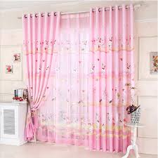 Cute Rabbit Pattern Kids Room Curtains Polyester Fabric In Pink And Yellow Color