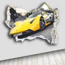 Q027w Car Yellow Sport Bedroom Smashed Wall Decal 3d Art Stickers Vinyl Room