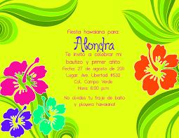 Invitacion Para Fiesta Hawaiana 1 Solo Lado Fiesta Hawaiana