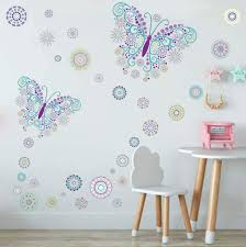 Amazon Com Butterfly Wall Decal With Flower Wall Sticker Creative Romantic Butterfly For Girls Bedroom Decoration Arts Crafts Sewing