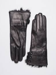 rabbit fur wool lined leather gloves