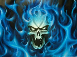 wallpapers flaming blue skull flame