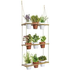 3 tiered hanging planter shelf with pot