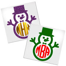 Snowman Monogram Decal For Cup Tumbler Glass Decals By Adavis