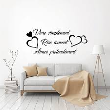 Best Price 74b47 Sticker Citation Vivre Simplement Vinyl Wall Art Decal Living Room Home Decor Poster French Quote House Decoration Wall Decor Cicig Co