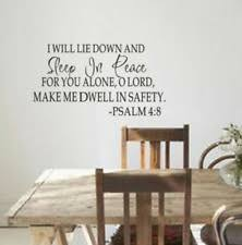 Sleep In Peace Psalm 4 8 Bible Verse Wall Decal Quote Vinyl Sticker Inspiration For Sale Online Ebay