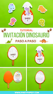 Invitacion De Dinosaurio Con Moldes Party Pop