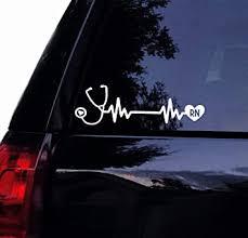 Amazon Com Tshirt Rocket Nurse Rn Stethoscope Decal Heartbeat Stethescope Line Vinyl Car Decal Window Sticker 8 White Automotive