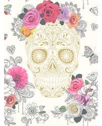 sugar skulls wallpaper cream and gold