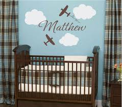 Airplane Wall Decals Airplane Cloud And Personalized Name Vinyl Wall Decal For Boy Baby Nursery O Baby Boy Room Nursery Baby Boy Room Decor Girl Nursery Wall