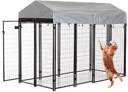 Amazon Com Xxfbag Dog House Large Dog Kennel Outdoor Heavy Duty Dog Crate Metal Wire Dog Cage Pet Puppy Playpen Animal Camping House Shelter Dog Fence With Waterproof Cover Roof Uv Protection