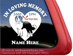 Custom Memorial Saint Bernard Heart Decals Stickers Nickerstickers