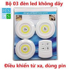 Bộ 3 Đèn LED chiếu sáng không dây dán tường 2 chế độ sáng có điều khiển từ  xa dùng pin giảm chỉ còn 98,000 đ