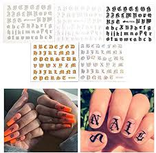 Amazon Com Womdee 3d Nail Art Stickers 3d Letter Nail Art Sticker Popular Nail Stickers Letters Old English Adhesive Acrylic Glitter Manicure Tips Diy Nail Art Decals Letter Literary Nail Sticker Kitchen Dining