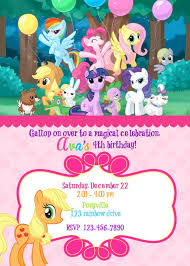 My Little Pony Birthday Invite With Or Without Photo Tarjetas