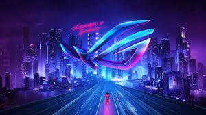 rog logo neon city night buildings 4k