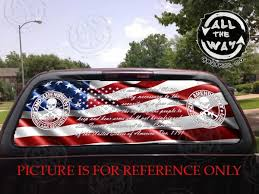 American Flag 2nd Amendment 2a Decal Us Perforated Vinyl Truck Window Sticker Patriotic Second Width 66