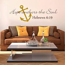 Amazon Com Scripture Wall Decal Anchor Wall Decal Hope Anchors The Soul Wall Decal Bible Verse Wall Sticker Art C X Large Anchor Light Yellow Words Dark Red Kitchen Dining