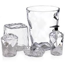 glass blocks 5 piece bath accessory set