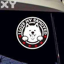 Xy Pet Animal Stickers Cute Dog Vinyl Stickers Funny Samoyed Car Front Window Reflective Waterproof Decal Leather Bag