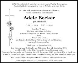 Traueranzeigen von Adele Becker   Saarbruecker-Zeitung.Trauer.de
