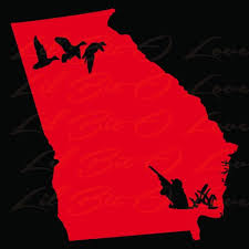 State Of Georgia Silhouette With Duck Hunter And Ducks Vinyl Decal Car Lilbitolove On Artfire