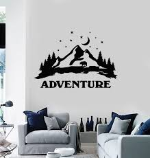 Vinyl Wall Decal Night Moon Stars Bear Adventure Mountains Landscape S Wallstickers4you