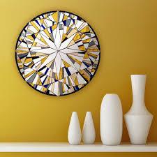 yellow wall mirror round wall art