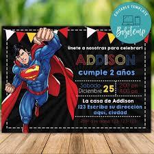 Invitacion De Cumpleanos De Superman Editable Descarga Instantanea