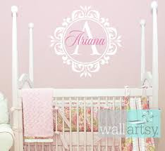 Name And Initial Vinyl Wall Decal Shabby Chic Damask Border Personalized Monogram Wall Decal Girl Ba Vinyl Wall Decals Monogram Wall Decals Nursery Wall Decals