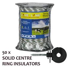 Green White Electric Fence Rope With Ring Insulators