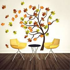 Autumn Tree Wall Decal Mural Plant Vinyl Realistic Leaves Trees Wall Art A22 Ebay