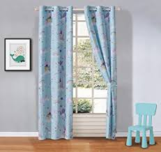 Amazon Com Elegant Home Multicolor Blue Unicorn Castle Design Girls Kids Room Window Curtain Treatment Drapes 2 Piece Set With Grommets Unicorn Blue Furniture Decor