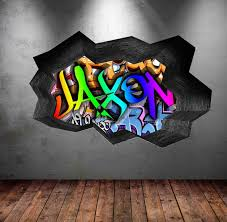 Full Colour Personalised 3d Graffiti Name Cracked Wall Art Stickers Decal Wsd119 For Sale Online Ebay