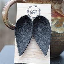 black leather leaf earrings joanna