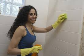 cleaning ceramic tile in the shower