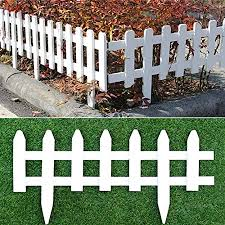 Amazon Com Uyoyous 2 Pack Wood Picket Fence 23 6 Long Garden Lawn Border Edge Decoration Picket Fence White Garden Outdoor