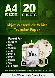 Inkjet Waterslide Decal Paper White 20 Sheets Water Slide Transfer Paper Ebay