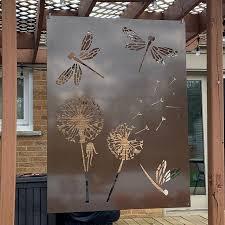 Hiddenflower1 Metal Privacy Screen Decorative Panel Garden Decor Art In 2020 Outdoor Metal Wall Art Decorative Panels Metal Tree Wall Art