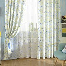 Blue And Yellow Lovely Polka Dots And Stripe Patterns Kids Curtains