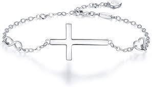 blinggem silver cross bracelet