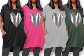 11 For A Women S T Shirt Dress With A Silver Heart Decal In Uk Size 8 10 16 18 From Trendymissi