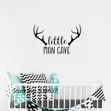 Woodland Nursery Wall Decal Little Man Cave Baby Boy Wall Stickers Quote Deer Antlers Kids Bedroom Decor Art Decals Mural Zb616 Wall Stickers Aliexpress