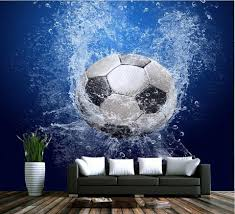 Unique 3d Wallpaper Football In Water Design Soccer Ball Wall Mural Beddingandbeyond Club