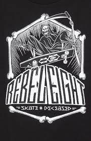 rebel 8 skate and deceased t shirt