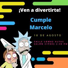 Invitacion De Cumpleanos Digital De Rick Morty Para Ninos